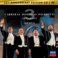 """CD PAVAROTTI / DOMINGO / CARRERAS """"IN CONCERT"""" 25TH ANNIVERSARY EDITION (CD+DVD)"""